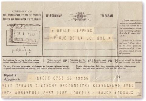 Telegram van zaterdag 18.01.1930 waarin majoor Massaux de aankomst van hemzelf en Wolf Hirth in Leuven aankondigt (archief familie Massaux)