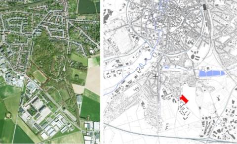 Onteigening van een stuk militair oefenterrein (rood aangeduid) voor het aanleggen van twee hockeyterreinen (plan en luchtfoto dd. 2014)