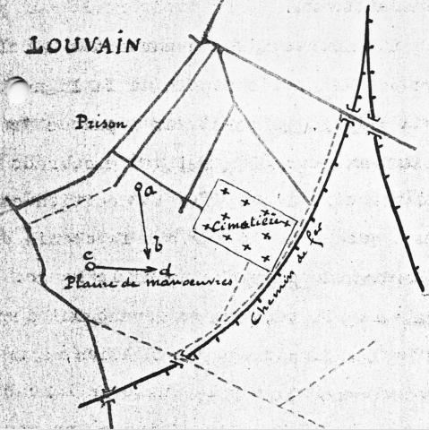 Situatieschets in het verslag van het ongeval van 14.02.1913