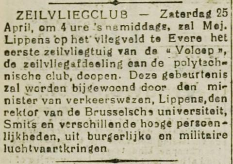 """Inhuldiging van de Sabca Junior van VOLCEP door Suzanne Lippens (aankondiging in de Aalsterse krant """"De Volksstem"""" op vrijdag 24.04.1931)"""
