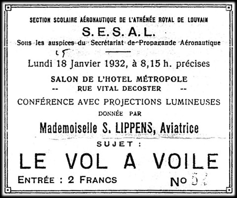 Spreekbeurt van Suzanne Lippens in Hotel Métropole (25.01.1932 te Leuven)